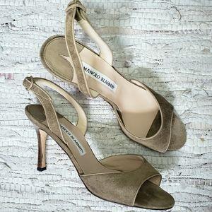 Manolo Blahnik olive suede slingback sandal 37.5